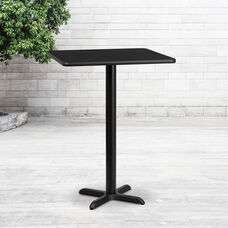 24'' Square Black Laminate Table Top with 22'' x 22'' Bar Height Base