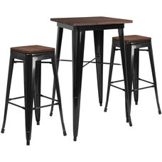 """23.5"""" Square Black Metal Bar Table Set with Wood Top and 2 Backless Stools"""
