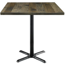 Urban Loft Collection 36'' Square Vintage Wood Top with Black Bistro Height Table Base - Barnwood