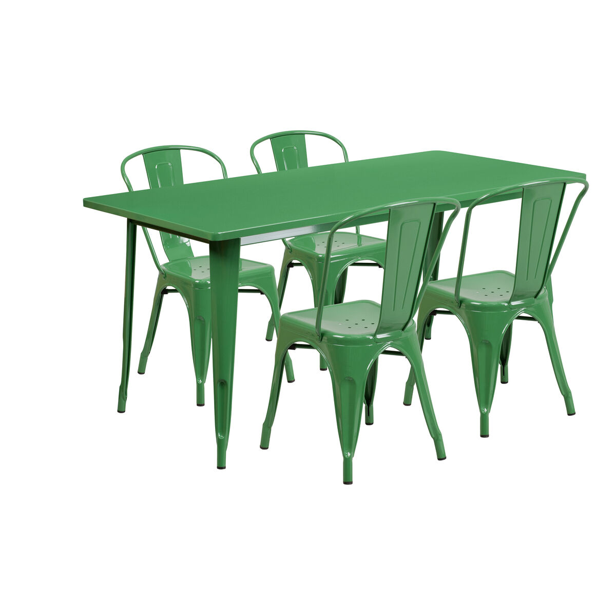 31.5x63 Green Metal Table Set ET-CT005-4-30-GN-GG ...
