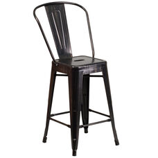 """Commercial Grade 24"""" High Black-Antique Gold Metal Indoor-Outdoor Counter Height Stool with Removable Back"""