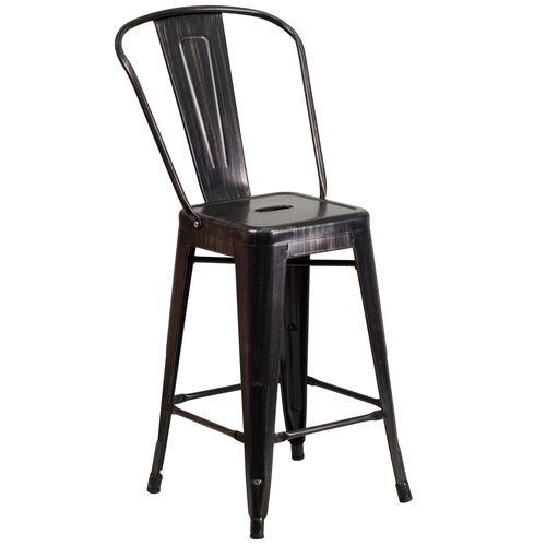 """Our Commercial Grade 24"""" High Black-Antique Gold Metal Indoor-Outdoor Counter Height Stool with Removable Back is on sale now."""