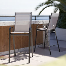 2 Pack Brazos Series Gray Stackable Outdoor Barstools with Flex Comfort Material and Metal Frame