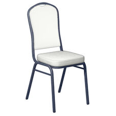 Embroidered E-Z Wallaby White Vinyl Upholstered Crown Back Banquet Chair - Silver Vein Frame