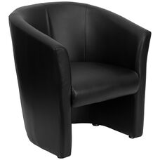 Black LeatherSoft Barrel-Shaped Guest Chair