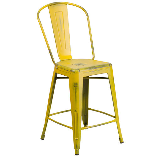 "Our Commercial Grade 24"" High Distressed Yellow Metal Indoor-Outdoor Counter Height Stool with Back is on sale now."