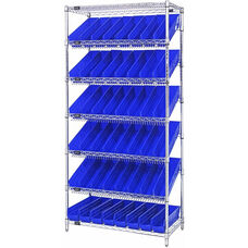 Stationary Slanted Wire Shelving with 48 Economy Shelf Bins - Blue