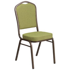 HERCULES Series Crown Back Stacking Banquet Chair in Moss Fabric - Gold Vein Frame