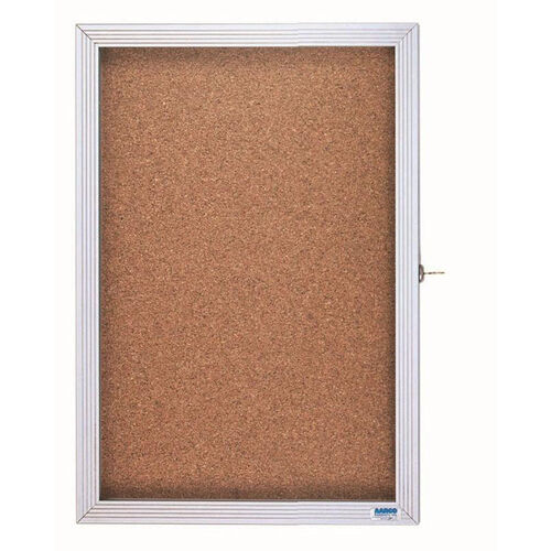 Our 1 Door Enclosed Bulletin Board with Aluminum Over Lapping Hinged Door - 36