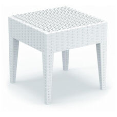Miami Outdoor Wickerlook Resin Square Side Table - White