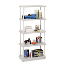 Iceberg Rough N Ready Five-Shelf Open Storage System - Resin - 36w x 18d x 74h - Platinum