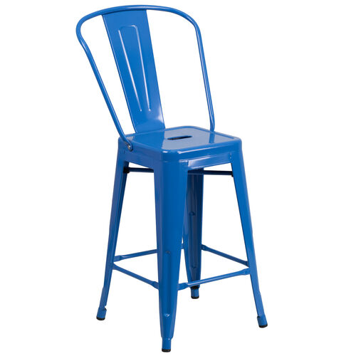 "Our Commercial Grade 24"" High Blue Metal Indoor-Outdoor Counter Height Stool with Removable Back is on sale now."