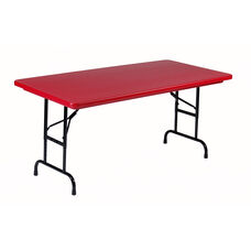 Adjustable Height Blow-Molded Plastic Top Rectangular Folding Table - 30''D x 60''W