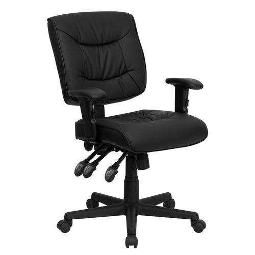 Our Mid-Back Black LeatherSoft Multifunction Swivel Ergonomic Task Office Chair with Adjustable Arms is on sale now.