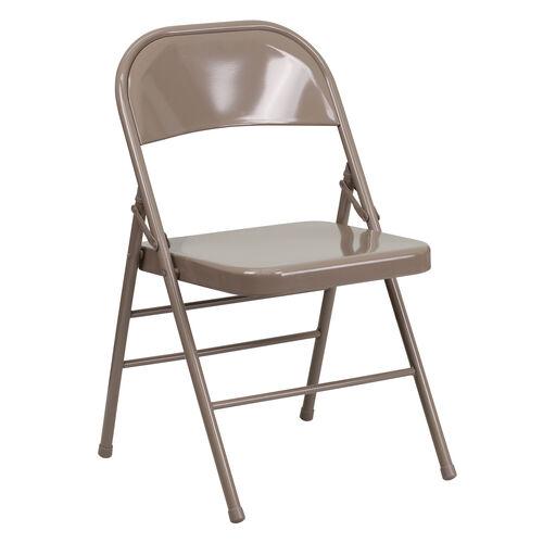 Our HERCULES Series Triple Braced & Double Hinged Beige Metal Folding Chair is on sale now.