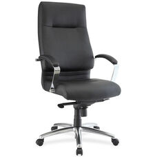 Lorell Modern High-Back Executive Chair with Padded Arms - Black