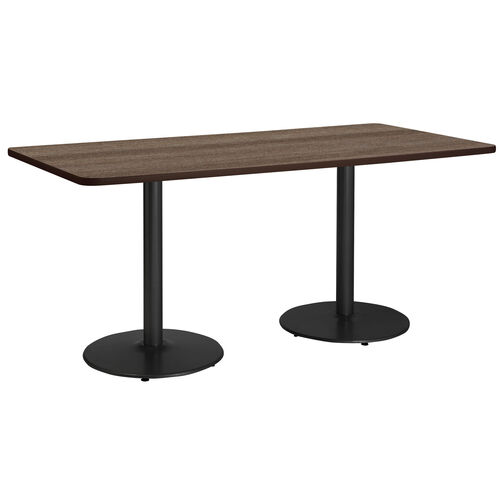 "36""W x 84""D Rectangular Laminate Pedestal Table with Studio Teak Top - Round Black Base"