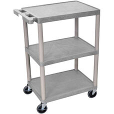3 Shelf Structural Foam Plastic Utility Cart - Gray - 24