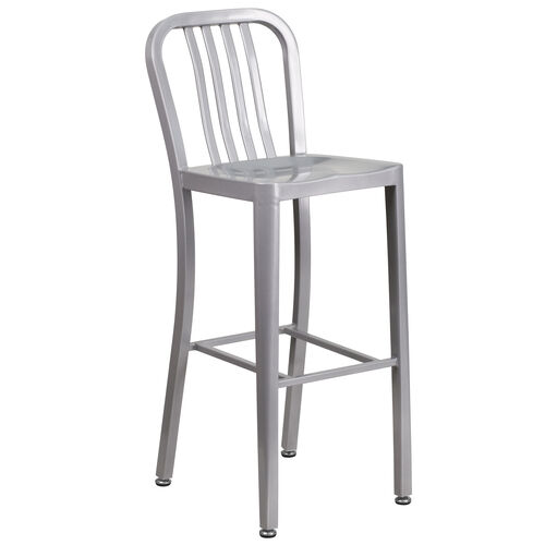 "Our Commercial Grade 30"" High Silver Metal Indoor-Outdoor Barstool with Vertical Slat Back is on sale now."