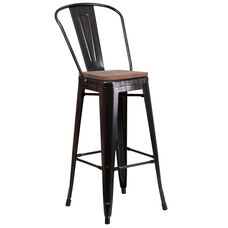 """30"""" High Black-Antique Gold Metal Barstool with Back and Wood Seat"""