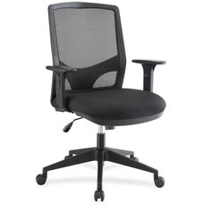 Lorell Mesh Mid-Back Executive Chair with Adjustable Arms - Black