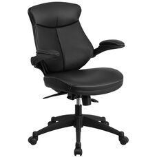 Mid-Back Black Leather Executive Swivel Chair with Back Angle Adjustment and Flip-Up Arms
