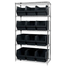 Wire Shelving Unit with 12 Magnum Bins - Black