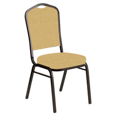 Embroidered Crown Back Banquet Chair in Venus Parchment Fabric - Gold Vein Frame