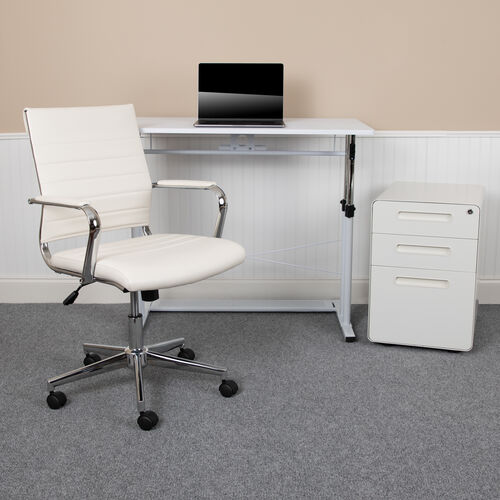Our Work From Home Kit - White Adjustable Computer Desk, LeatherSoft Office Chair and Inset Handle Locking Mobile Filing Cabinet is on sale now.