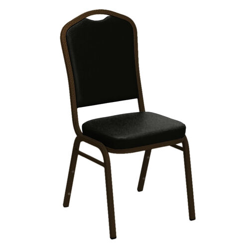 Our Embroidered Crown Back Banquet Chair in E-Z Sierra Black Vinyl - Gold Vein Frame is on sale now.