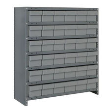 7 Shelf Closed Unit with 36 Bins - Gray