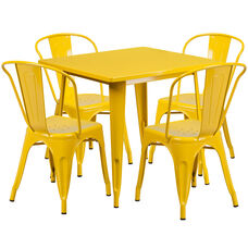 """Commercial Grade 31.5"""" Square Yellow Metal Indoor-Outdoor Table Set with 4 Stack Chairs"""
