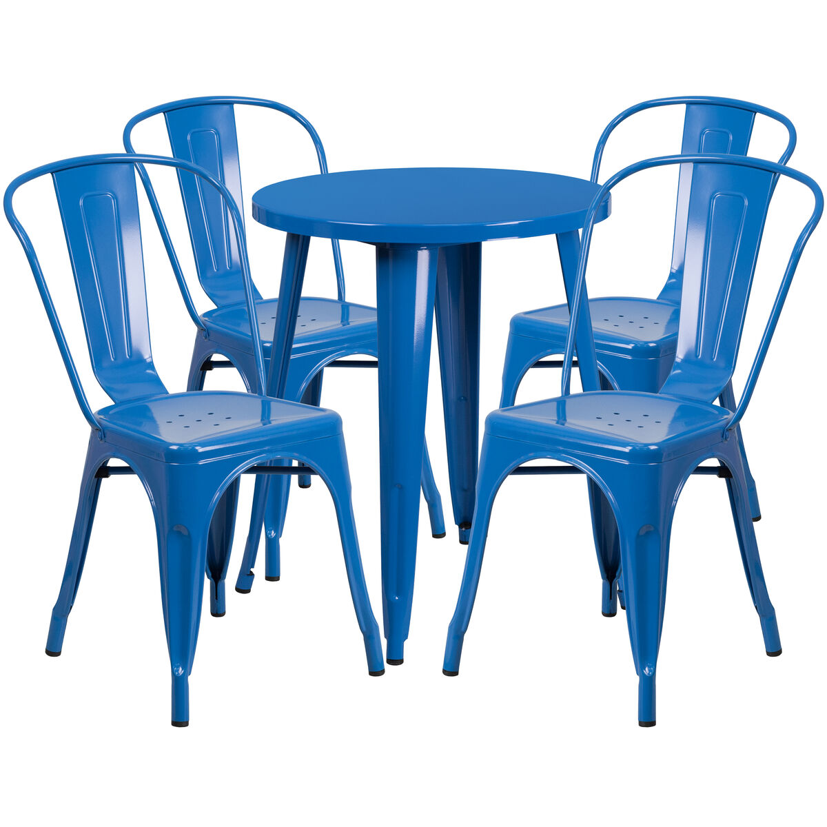 RD Blue Metal Table Set CHTHCAFEBLGG - Metal cafe table and chairs
