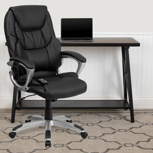 High Back Ergonomic Massaging Black LeatherSoft Executive Swivel Office Chair with Silver Base and Arms