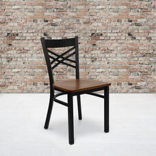 Black ''X'' Back Metal Restaurant Chair with Cherry Wood Seat