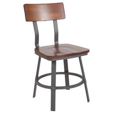Rustic Walnut Restaurant Chair with Wood Seat & Back and Gray Powder Coat Frame