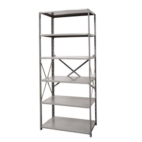Hi-Tech Open Style 6 Adjustable Metal Shelving Starter Unit - Unassembled - Dark Gray - 48
