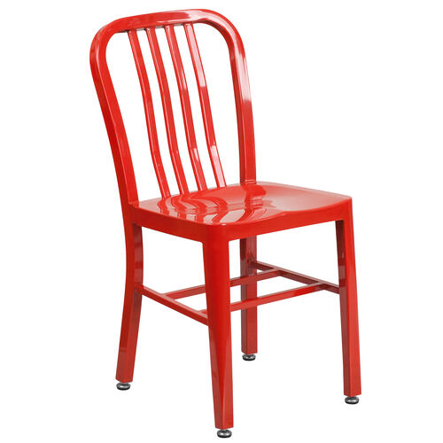 Our Commercial Grade Red Metal Indoor-Outdoor Chair is on sale now.