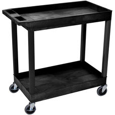 Molded Thermoplastic Resin 2 Tub Shelf Cart with 4