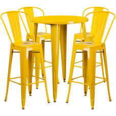 "Commercial Grade 30"" Round Yellow Metal Indoor-Outdoor Bar Table Set with 4 Cafe Stools"
