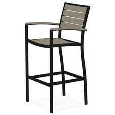POLYWOOD® Euro Bar Arm Chair - Textured Black / Sand