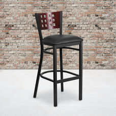 Black Decorative Cutout Back Metal Restaurant Barstool with Mahogany Wood Back & Black Vinyl Seat