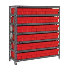 7 Shelf Open Unit with 54 Drawers - Red