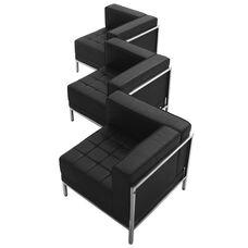 HERCULES Imagination Series Black Leather 3 Piece Corner Chair Set