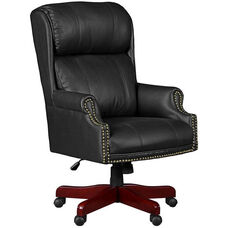 Barrington Height Adjustable Swivel Chair with Casters - Black Leather