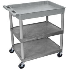 Heavy Duty Multi-Purpose Large Mobile Utility Cart with 1 Tub Top Shelf and 2 Flat Shelves - Gray - 32