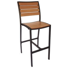 Largo Side Barstool - Synthetic Teak Seat & Back and Black Frame