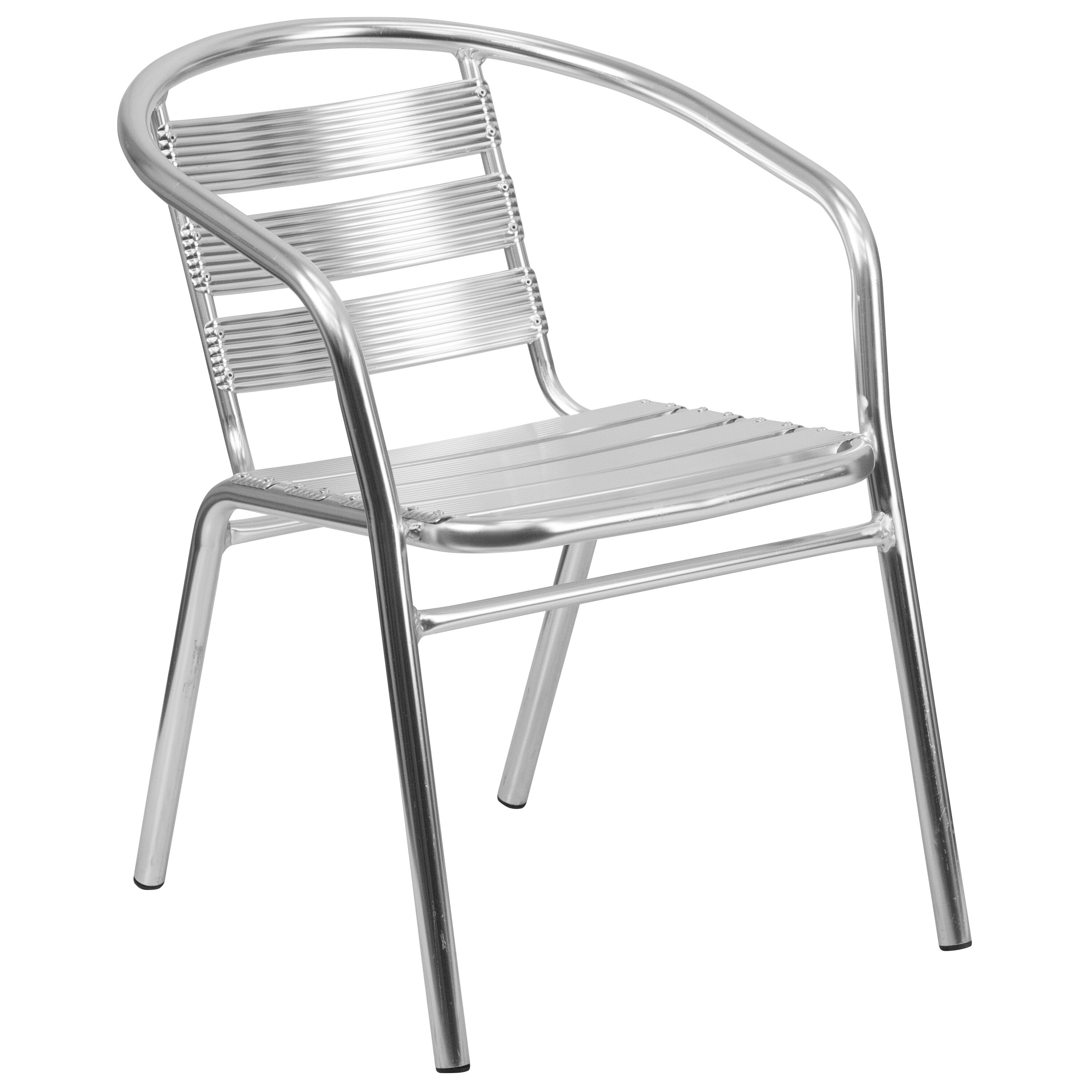 Heavy Duty Commercial Aluminum Indoor Outdoor Restaurant Stack Chair With  Triple Slat Back