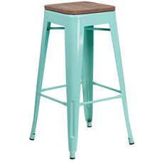 "30"" High Backless Mint Green Barstool with Square Wood Seat"