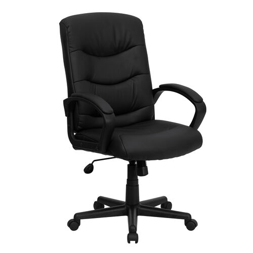 Our Mid-Back Black LeatherSoft Executive Swivel Office Chair with Three Line Horizontal Stitch Back and Arms is on sale now.